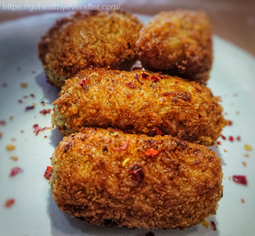 close-up view of potato croquettes stuffed with cheese