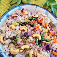 Millet Pongal with soybeans and carrots