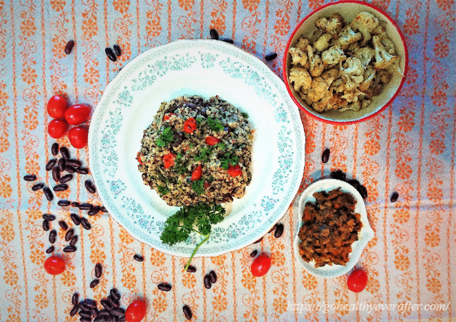 lemon-garlic quinoa with kidney beans in a ceramic white plate and bowls of roasted cauliflower and sauteed mushrooms