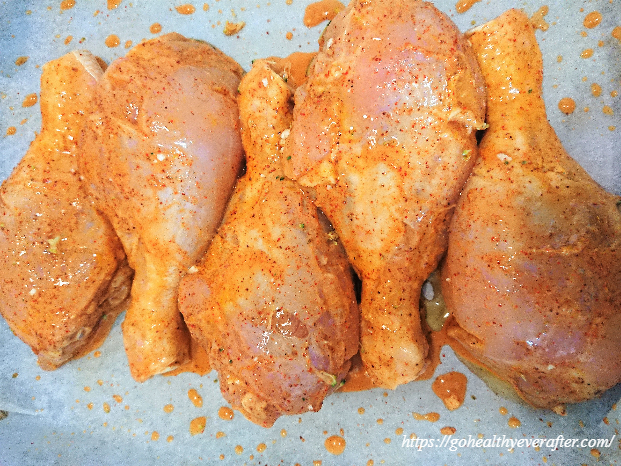 chicken drumstick pieces marinated in buttermilk and spices