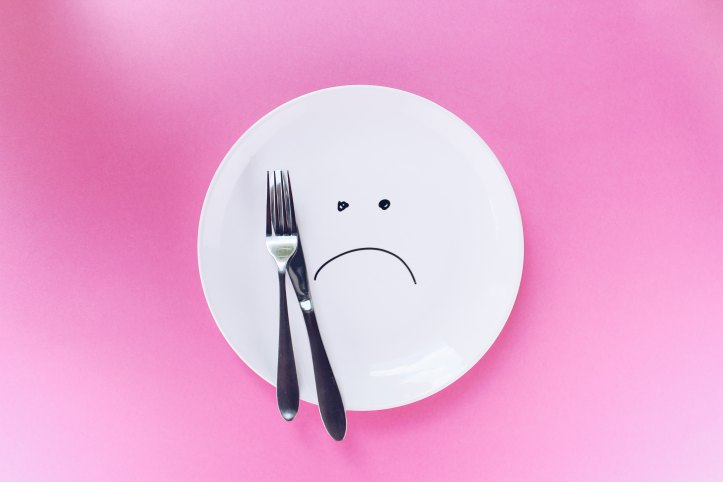 image of a sad-face on an empty plate