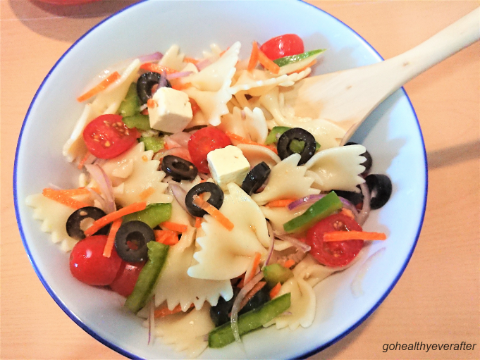 close-up view of pasta salad in a bowl